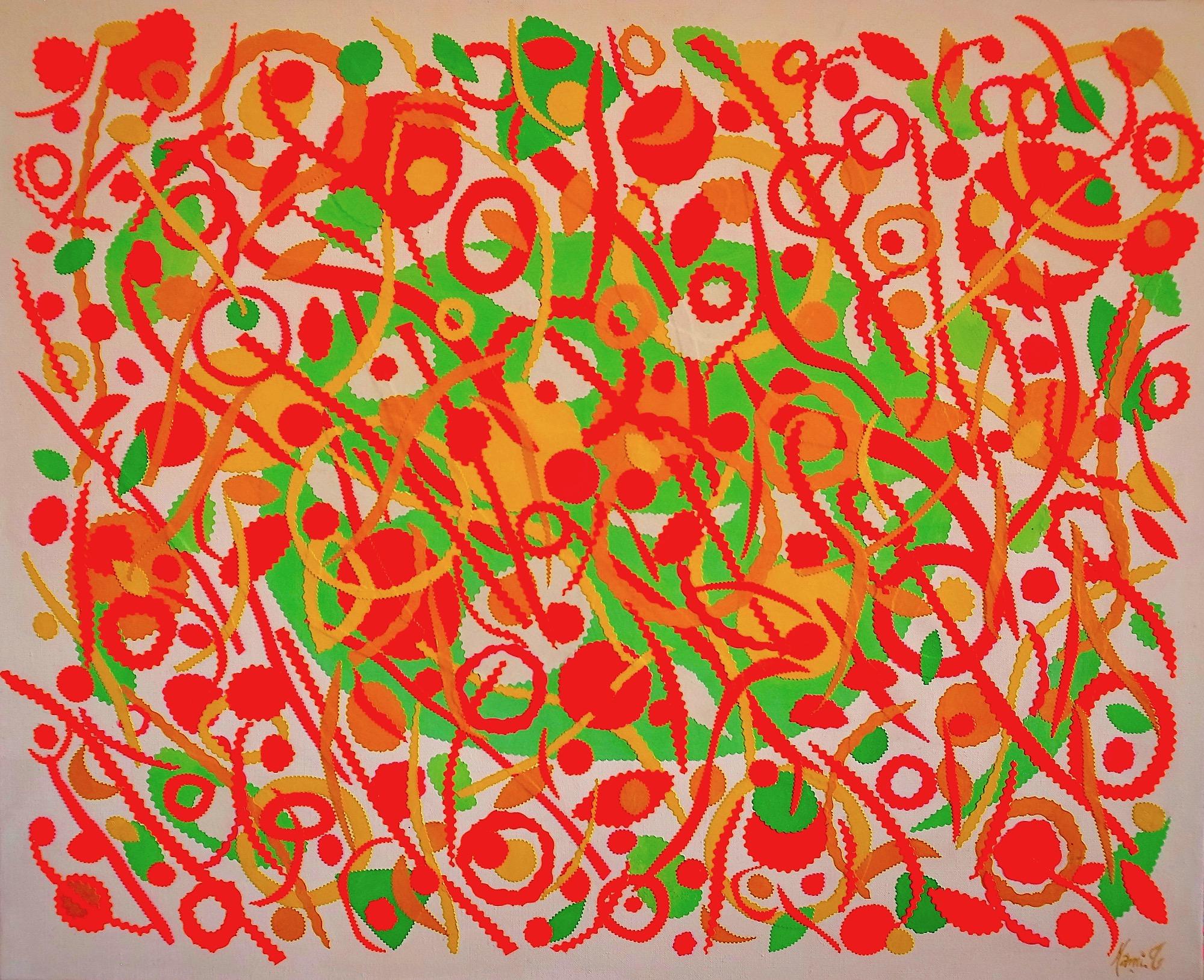 """MAMI/   Images et Poésie ,""""Fêtes"""",   technique mixte, 81 cm x 100cm"""